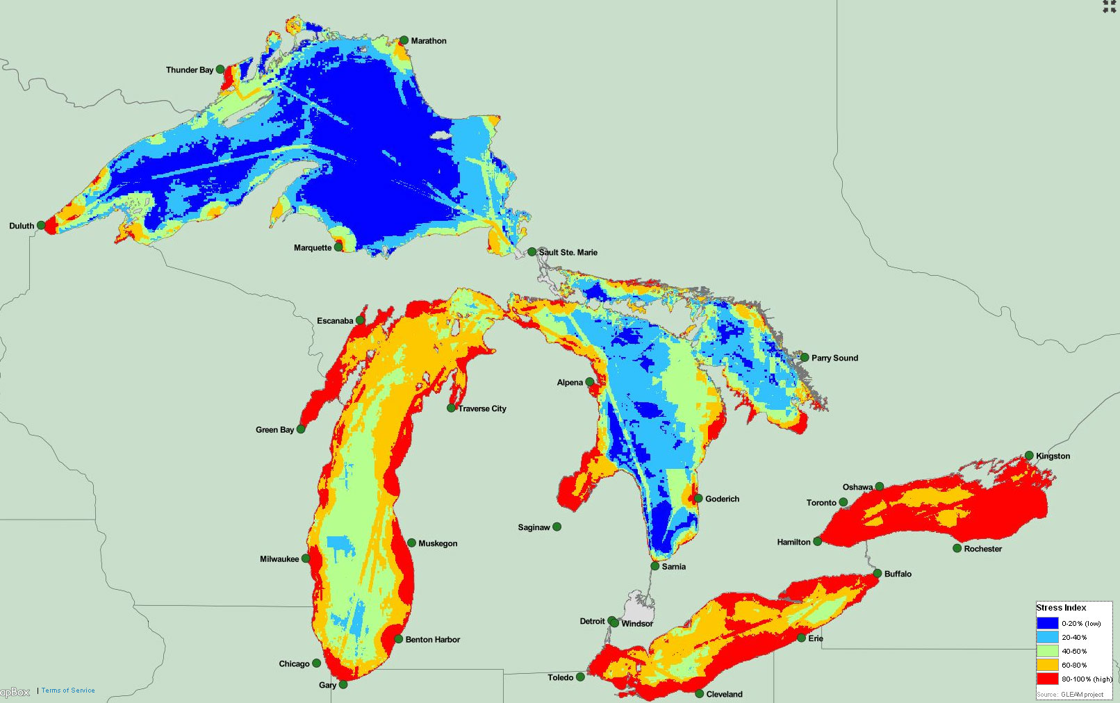 great lakes threats map