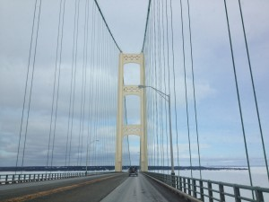 The view driving across the Mackinac Bridge: the Enbridge Line 5 oil pipeline is submerged beneath the same Straits of Mackinac that the Bridge traverses.