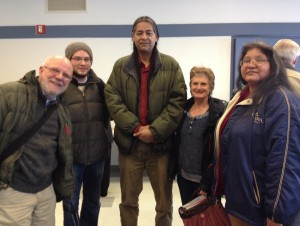 Left to right: Jim Dulzo, MLUI; Jonathan Aylward, FLOW; Lee Sprague, Little River Band of Ottawa Indians; Anne Zukowski, Don't Frack Michigan; Jannan Cornstalk, Little River Band of Ottawa Indians