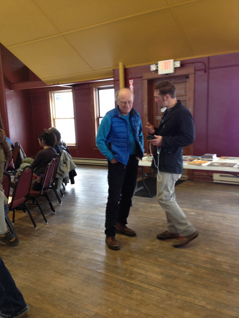 Jacob Wheeler of the Betsie Current inquiries with Jim Olson, Founder of FLOW