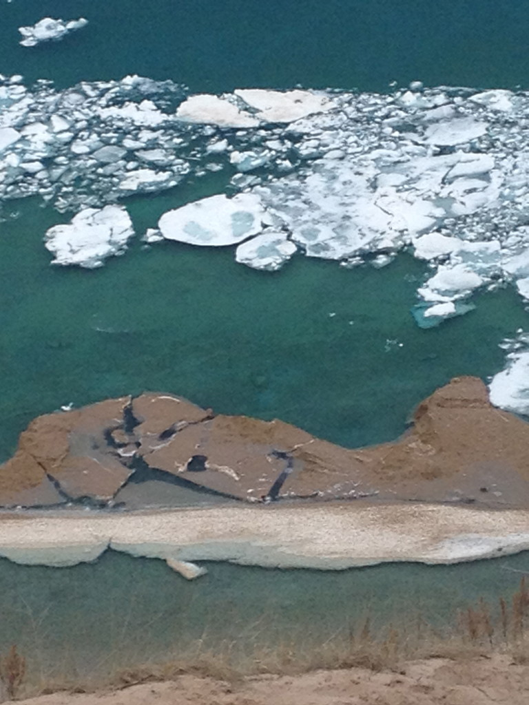 LOOKING DOWN FROM PYRAMID POINT, LAKE MICHIGAN – LATE APRIL 2014
